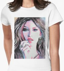 Gisele Bündchen in watercolor painting Women's Fitted T-Shirt