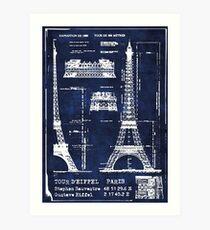 Eiffel Tower Architecture Blueprint Art Print