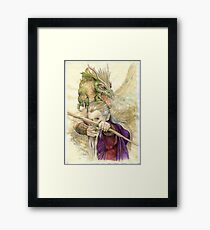Elf Warior and Dragon Framed Print