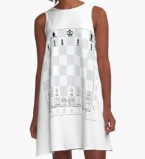 Chess, board game, strategic skill, players, checkered board, player, game,  sixteen pieces A-Line Dress