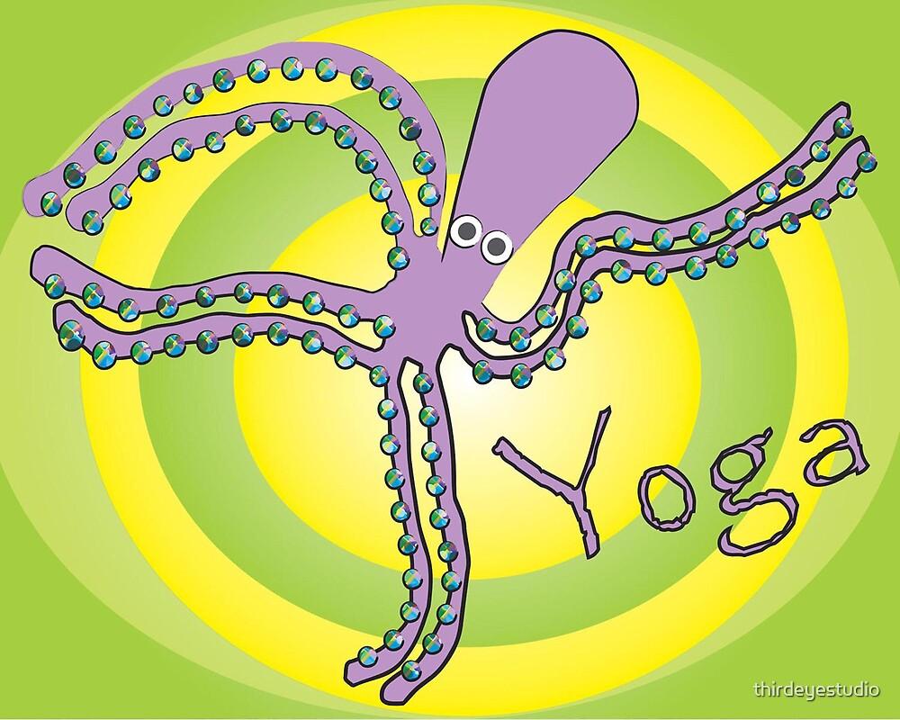 Octopus doing Yoga - Cosmic Dancer by thirdeyestudio