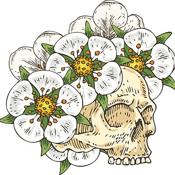 Voodoo Skull in White Flower Wreath by deepfuze