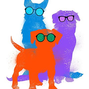 dogs in ink. These retro, hippie dogs are classic inked images with fun glasses adorning them. Fun colors vibrate. by SleeplessLady