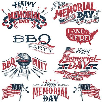 Memorial Day & BBQ Stickers Set by PaulLesser