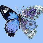 Blue Butterfly in Bloom  by ECMazur