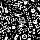 Cats Are All Around - Pattern // Black by Elli Maanpää