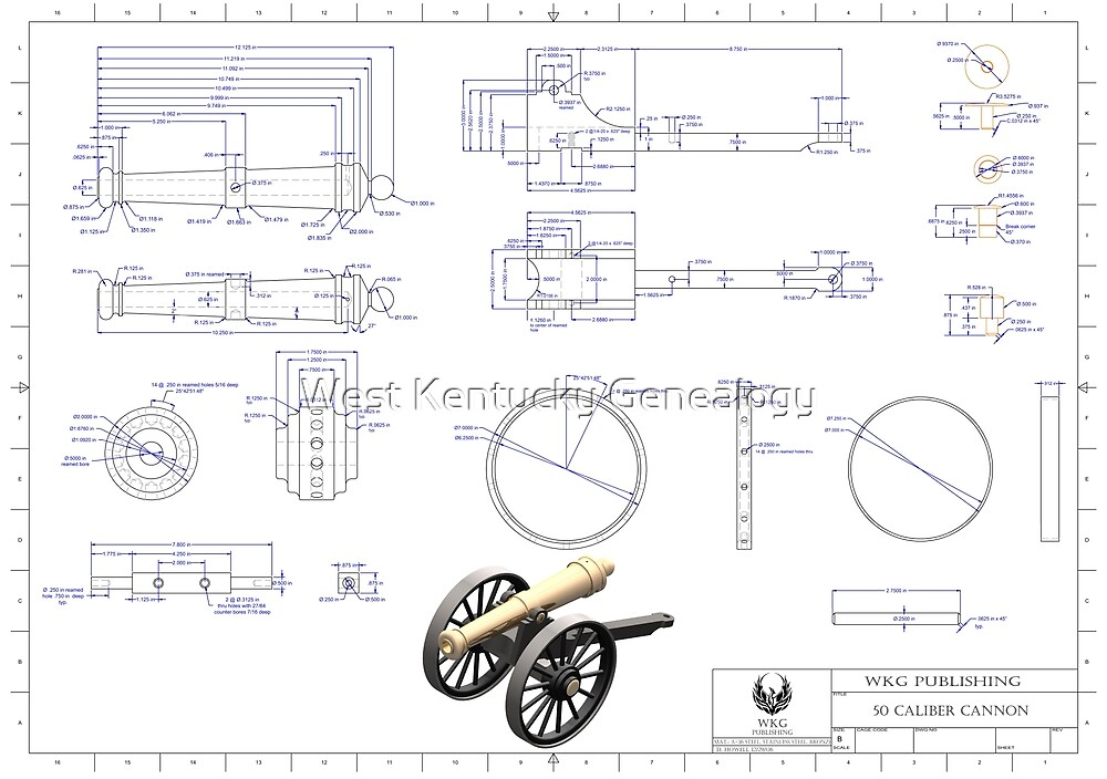 50 Caliber Cannon Blue Print by Don Howell