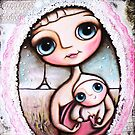 Mother and child and the Eiffel Tower, big eyes art by margherita arrighi