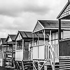 Beach huts in a black and white by Joe Gillbanks