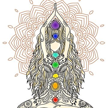 yoga woman buddha mandala india pattern chakra energy lotus power centers by originalstar