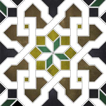 Oriental tile pattern - black, brown by ohaniki
