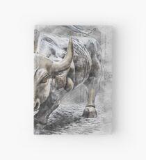 Bull angry stock market Hardcover Journal