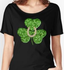 Faux Green Glitter Shamrock With A Horseshoe Women's Relaxed Fit T-Shirt
