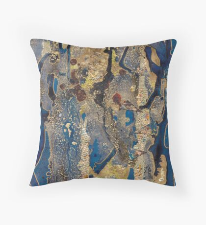 Dark Blue and Gold Throw Pillow