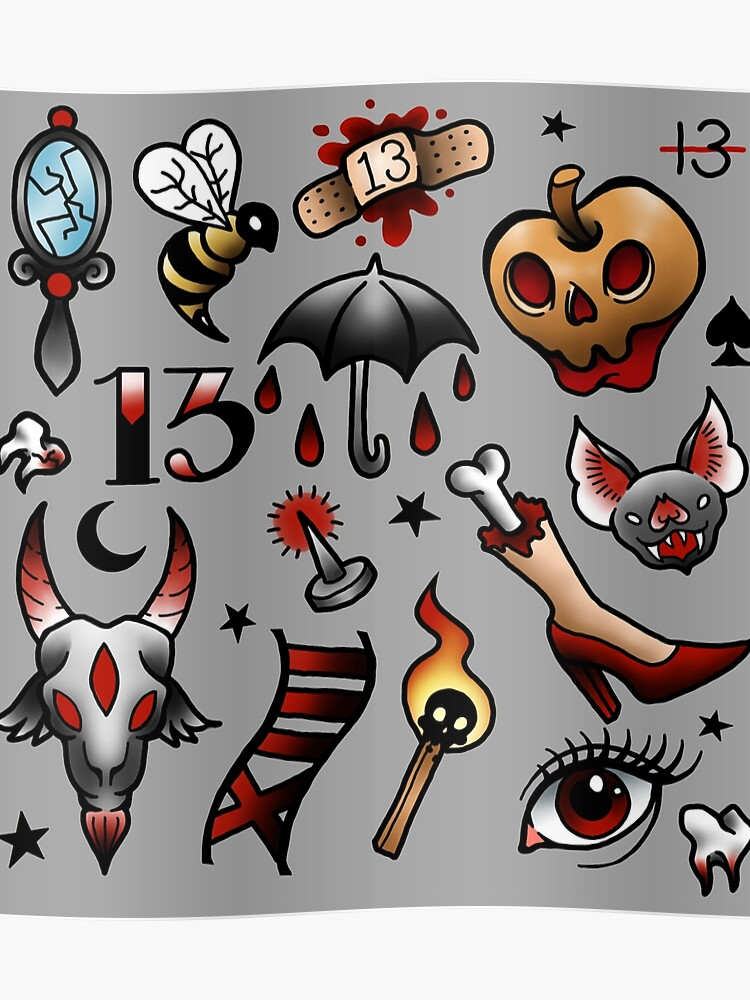 Friday The 13th Tattoo Flash Sheet - Wiki Tattoo