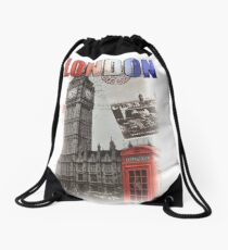 London Skyline Postcard Drawstring Bag