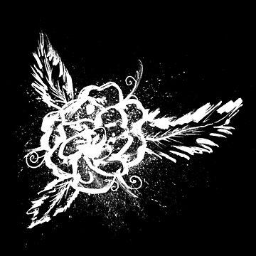 White Ink Splattered Rose by Sladeside
