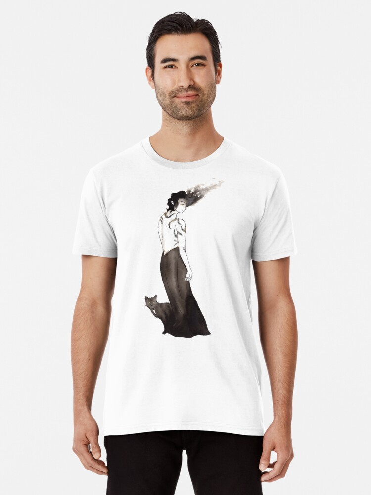 'Witch with Cat Sidhe' Men's Premium T-Shirt by OrionRose