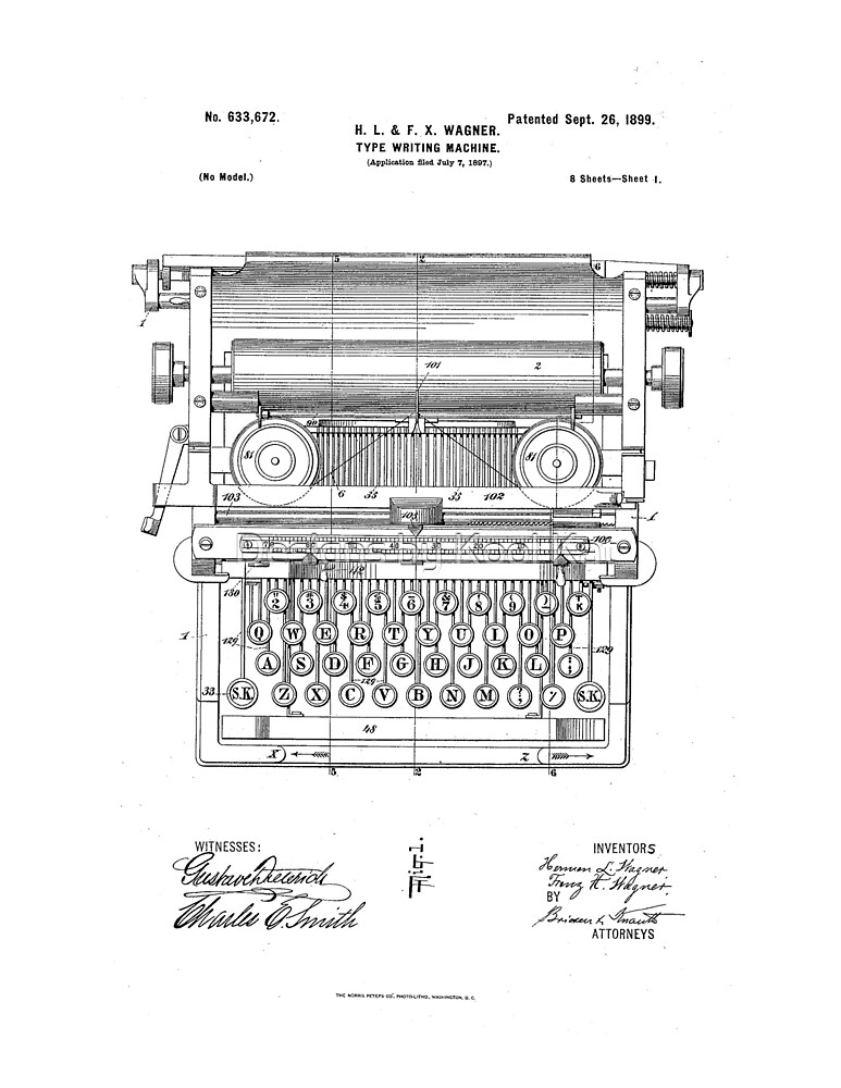 Underwood Vintage Antique Typewriter Patent Drawing Design by Framerkat