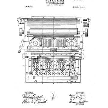 Underwood Vintage Antique Typewriter Patent Drawing Design by Framerkat
