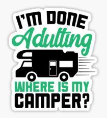Pegatina Camisa divertida para acampar hecha para adultos ¿Dónde está mi camiseta Camper?