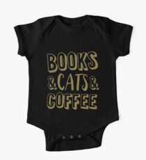 Books And Cats And Coffee Gold Women's Book Cat Lover Coffee T-Shirts One Piece - Short Sleeve