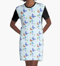 Butterfly Rainbow Chain Graphic T-Shirt Dress