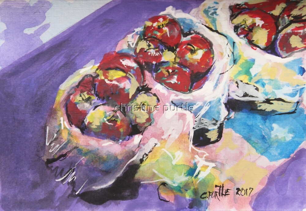 Buckets of apples by christine purtle