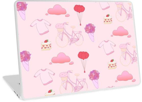 Pastel Pink Aesthetic Stickers Pattern Laptop Skin By Princesspeach55