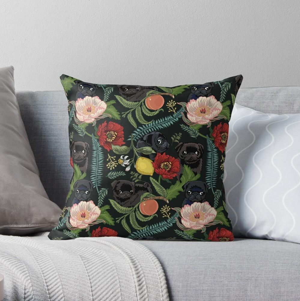 Botanical and Black Pugs Throw Pillow