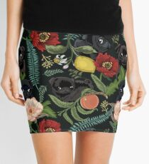 Botanical and Black Pugs Mini Skirt