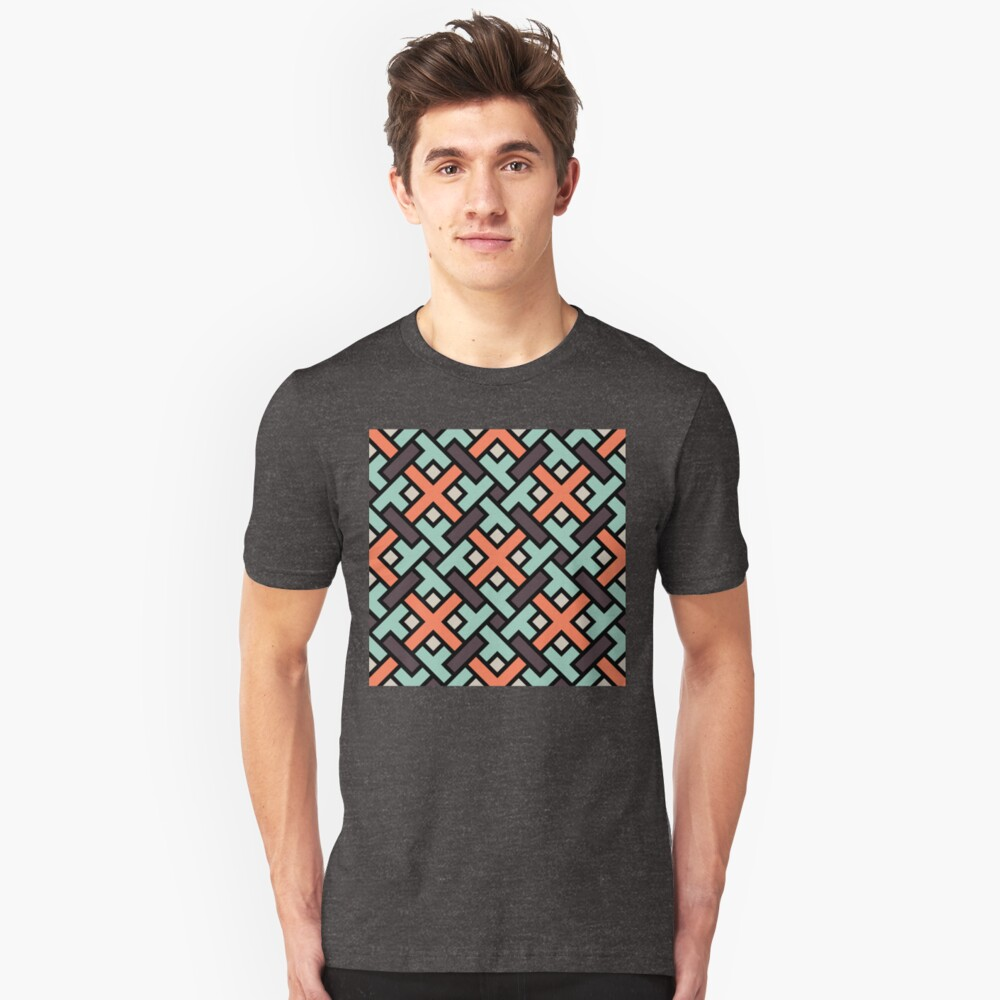 Geometric Pattern: Weave: Red/Green Unisex T-Shirt Front