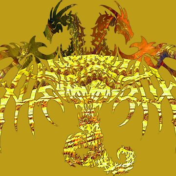 ALL THE KINGS GOLD 2 HEADED DRAGON by SK8N