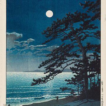 Kawase Hasui - Spring Moon at Ninomiya Beach by CoppedFlack