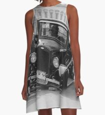 broken black and white car A-Line Dress