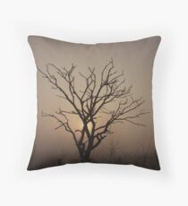 Foggy Morning Silhoutte Throw Pillow