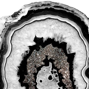 Gray Black White Agate with Silver Glitter #1 #gem #decor #art by anitabellajantz