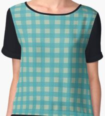 Buffalo Checked Plaid in Turquoise and Sage Green Chiffon Top