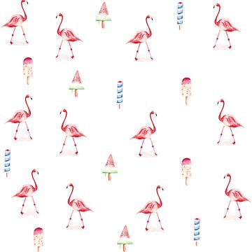 Flamingo and icecream pattern - watercolor  by sylvianik