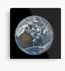 Mond Kreuzung Gesicht der Erde Metallbild