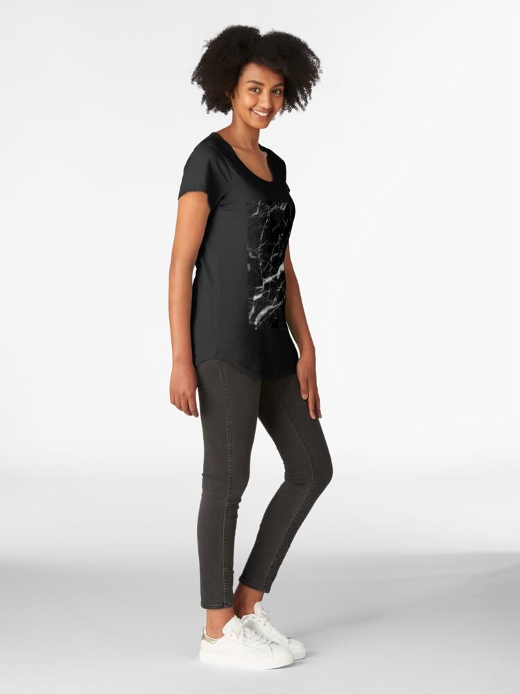 Alternative Ansicht von abstrakter moderner schicker minimalistischer grauer schwarzer Marmor Premium Rundhals-Shirt