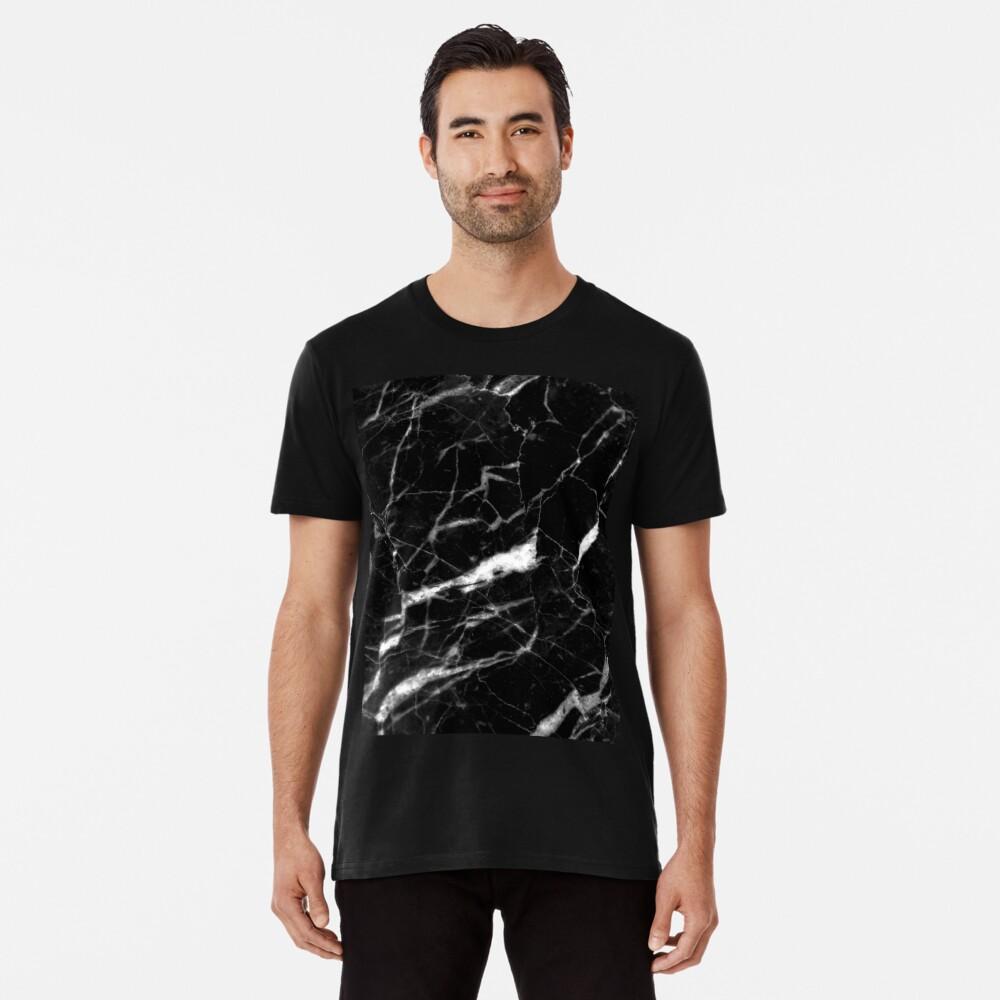 abstrakter moderner schicker minimalistischer grauer schwarzer Marmor Premium T-Shirt