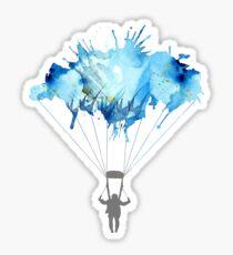 Skydiving, Skydiver parachute, parachuting. Watercolor Illustration Sticker
