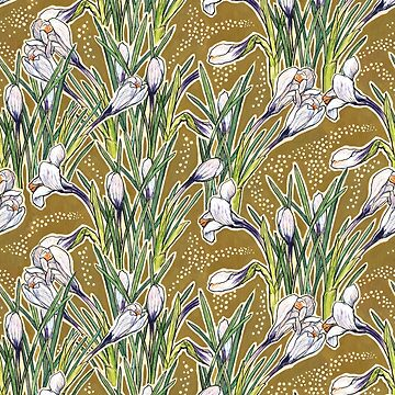 Crocuses, floral pattern in green, olive and white  by clipsocallipso