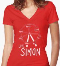 Love Simon Ferris Wheel Doodle Women's Fitted V-Neck T-Shirt
