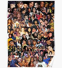 Black Female Music Collage - Black Background Poster