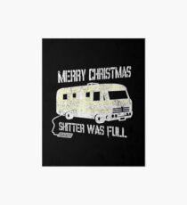 Merry Christmas Shitter Was Full Black Vintage  Art Board