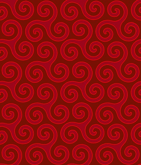 Celtic Trinity Spirals In Reds
