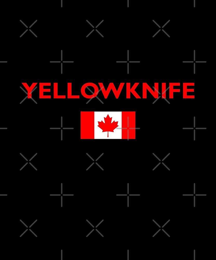 Yellowknife Canada Canadian Flag Color Dark by TinyStarCanada