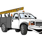 Utility Pick Up Grey White Truck Cartoon by Graphxpro